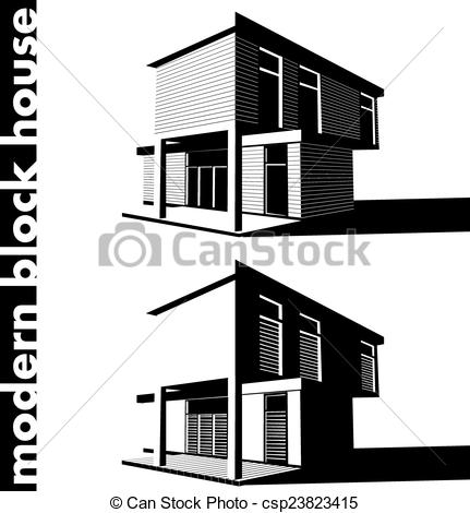 Vector Clip Art of modern block house.