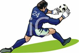 Goalie Blocking a Soccer Ball Clipart Picture.