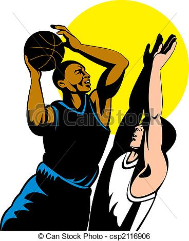 Blocking in basketball clipart.