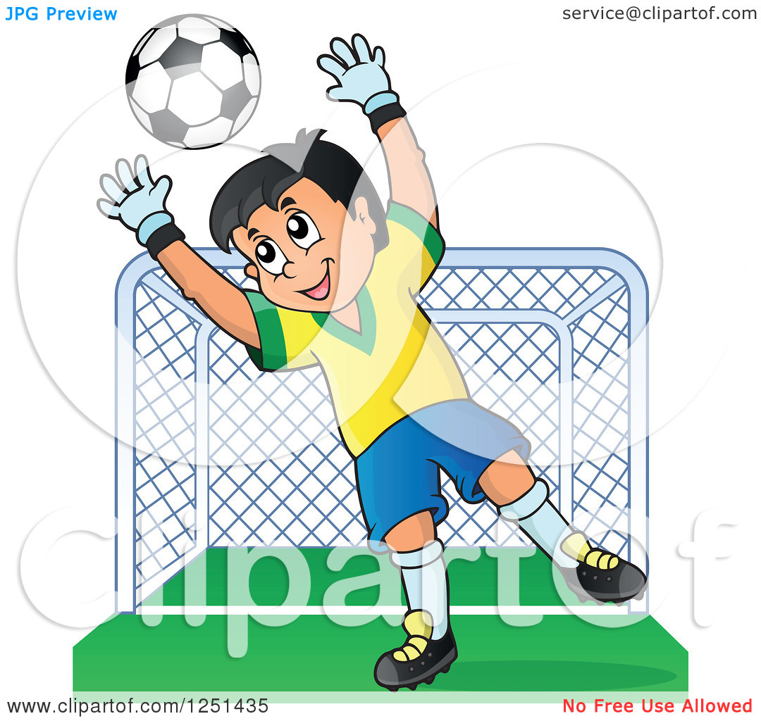 Clipart of a Soccer Goalie Boy Blocking a Ball in Front of a Goal.