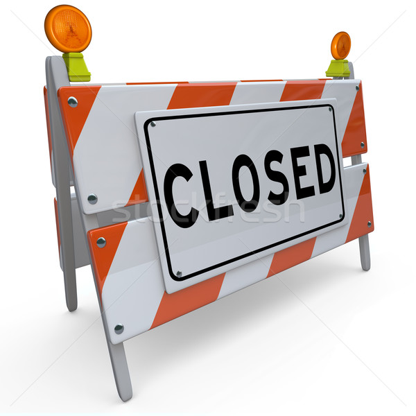 Road Closed Barricade Sign Barrier Blocking Access stock photo.