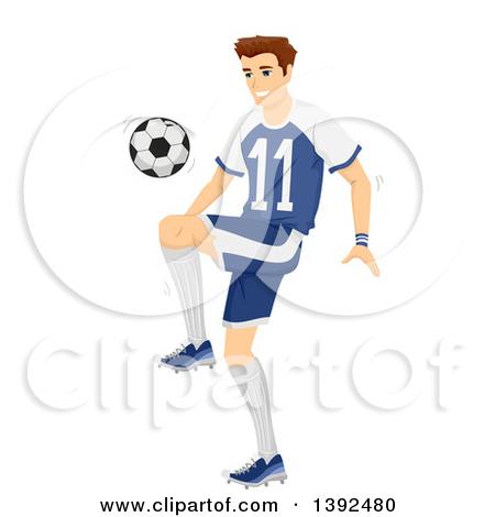 Clipart of a Red Haired White Soccer Player Goalie Blocking a Ball.