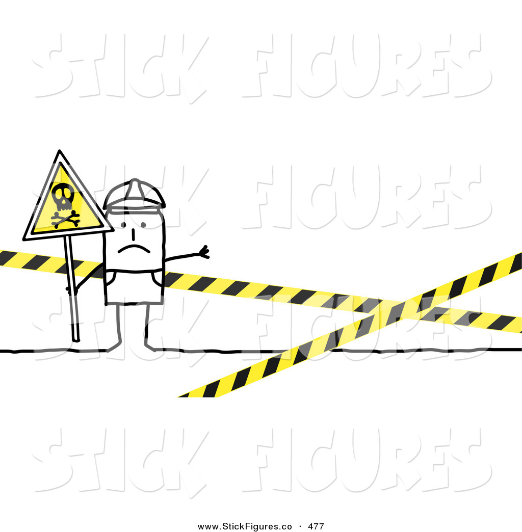 Illustration of a Stick Figure People Character Officer Blocking.