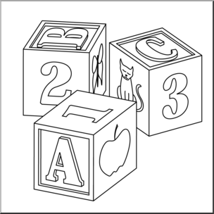 Clip Art: Child's Blocks B&W I abcteach.com.