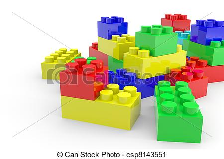 Clipart of Color lego blocks toy isolated on white. Computer.
