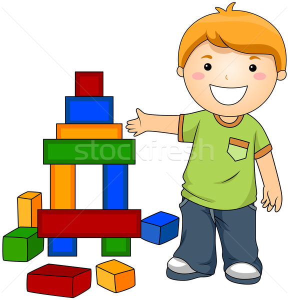Boy with Toy Blocks vector illustration © lenm (#459287).