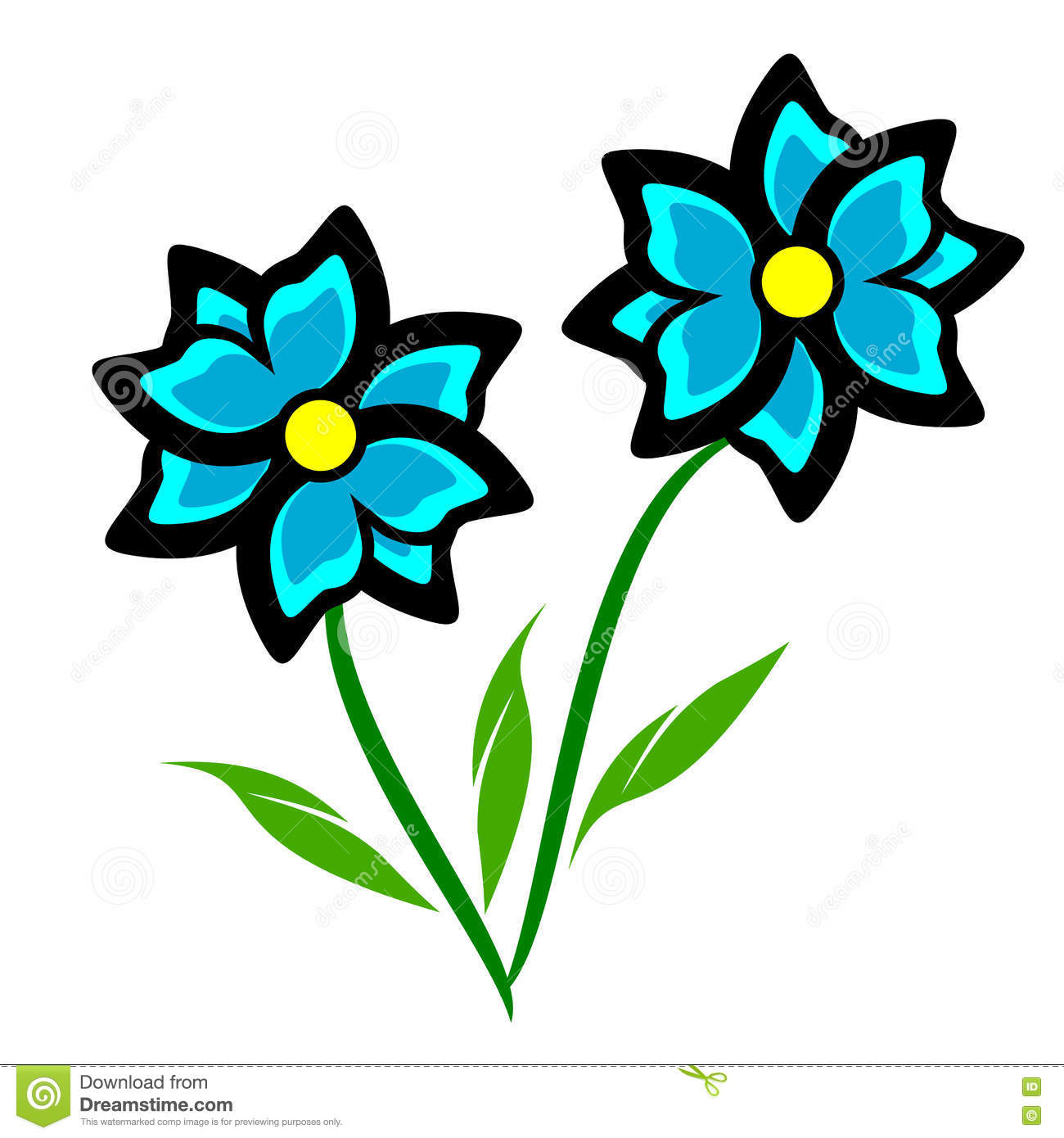 Blauwe Bloem Clipart Vector Illustratie.