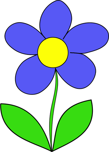 Vector tekening van blauwe kleur bloem.