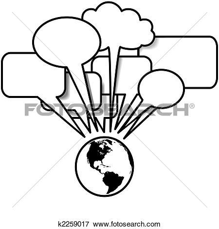 Clip Art of Earth West talks blogs tweets in speech bubble.