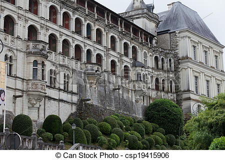 Stock Photography of Renaissance facade at the castle of Blois.