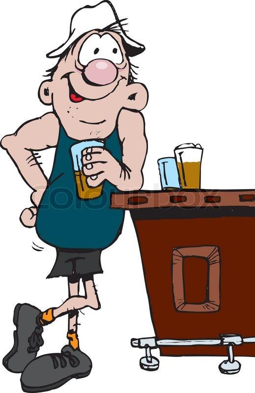 Man at bar drinking clipart.