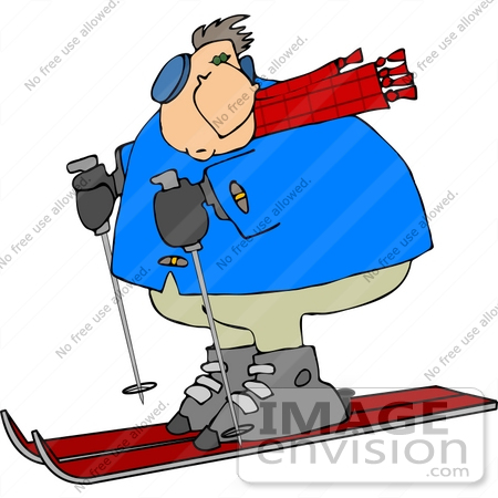 Caucasian Man Skiing Clipart.