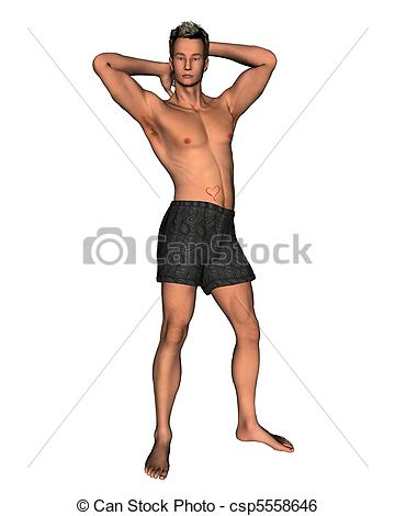 Stock Illustration of Valentine Guy with Rose.