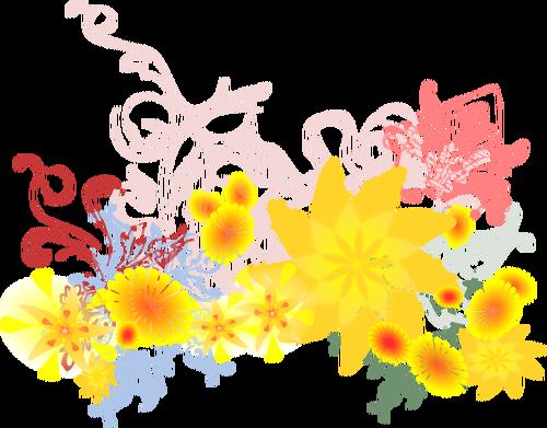 Färgglada blommor vektor ClipArt.