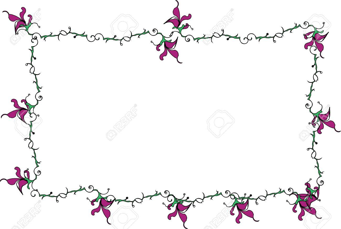 Vector Tecknad Clipart Av Lila Lilja Blommor Och Swirly Gröna.