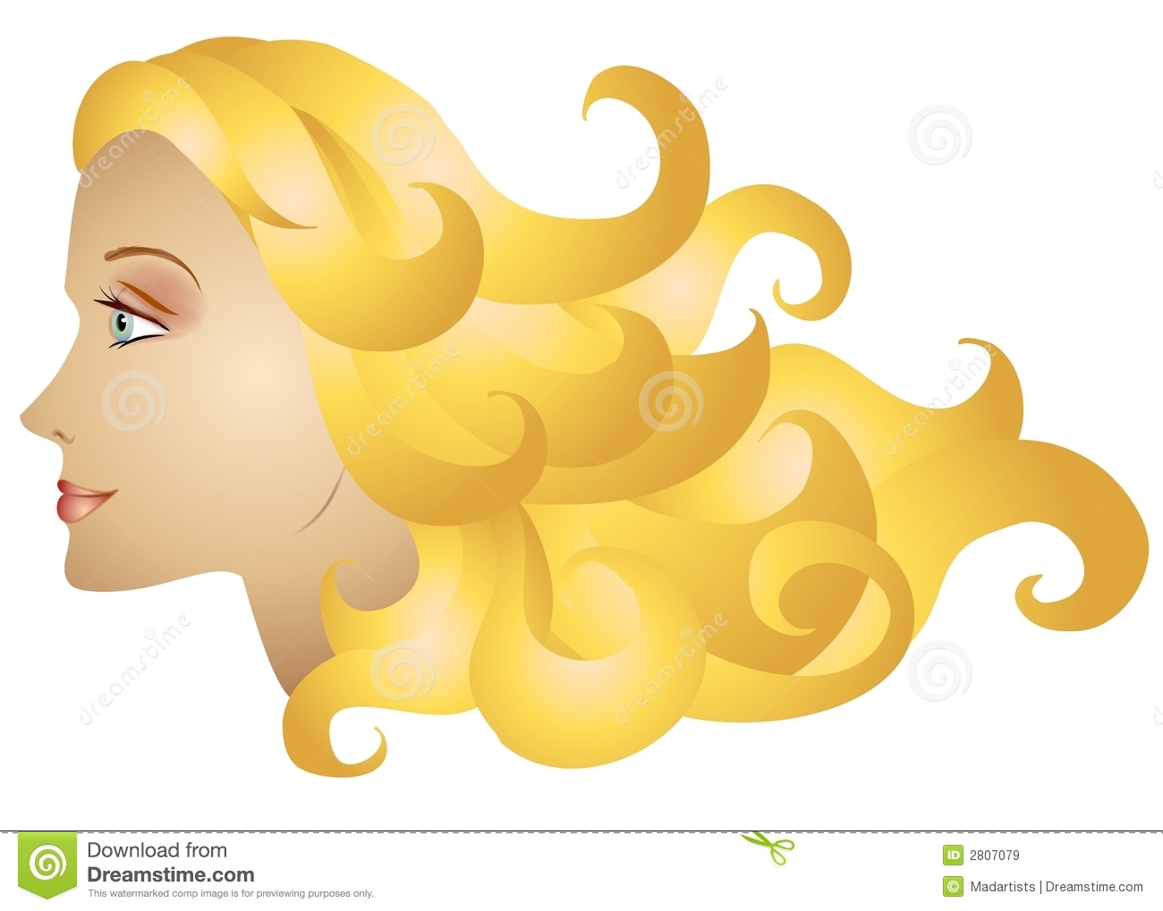 Long blonde hair clipart.
