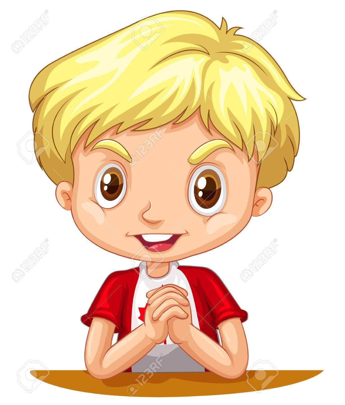 Little boy with blond hair illustration.