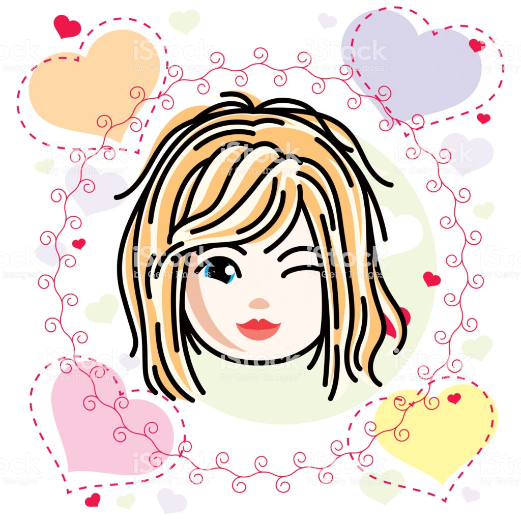 Vector Illustration Of Beautiful Blonde Happy Girl Face Positive.