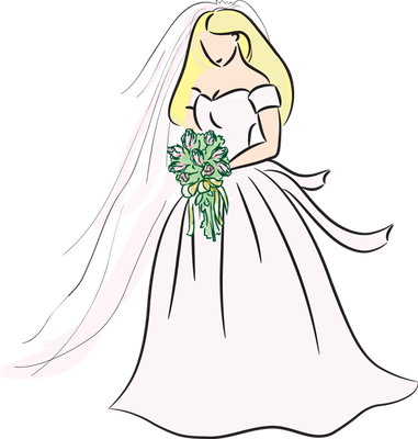 Bridal blonde bride drawing bing images clipart image #26279.