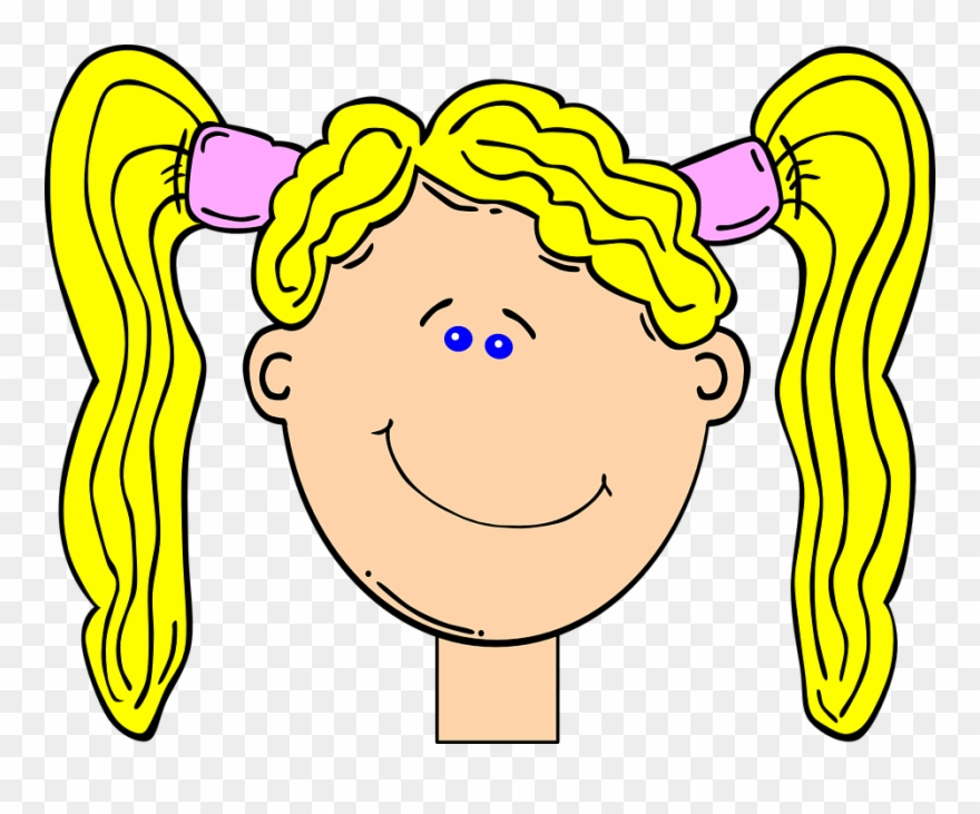Happy Blonde Girl With Pig Tails Clip Art At Clker.