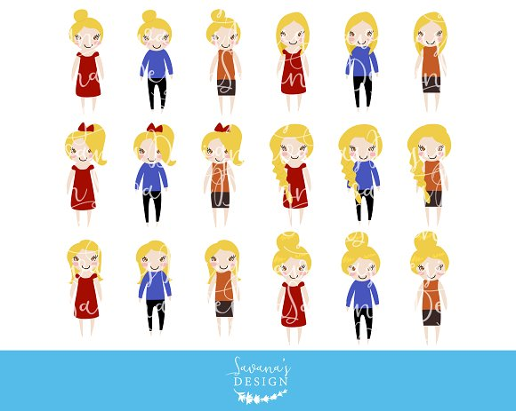 Blonde Girl Fashion Clipart in PNG.