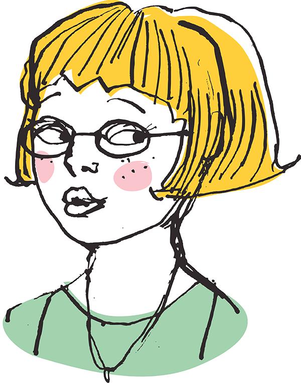 Blonde Girl Wearing Glasses.
