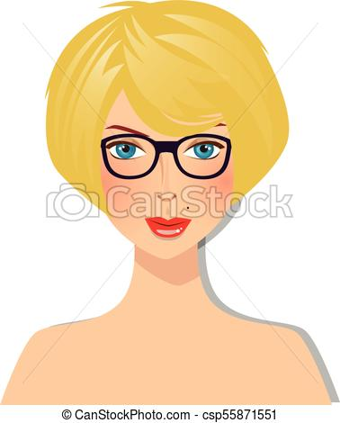 Beautiful blonde girl with blue eyes and glasses with magnificent bob  hairstyle yellow color hair style portrait.