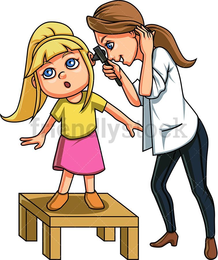Doctor Checking Little Girl\'s Ears.
