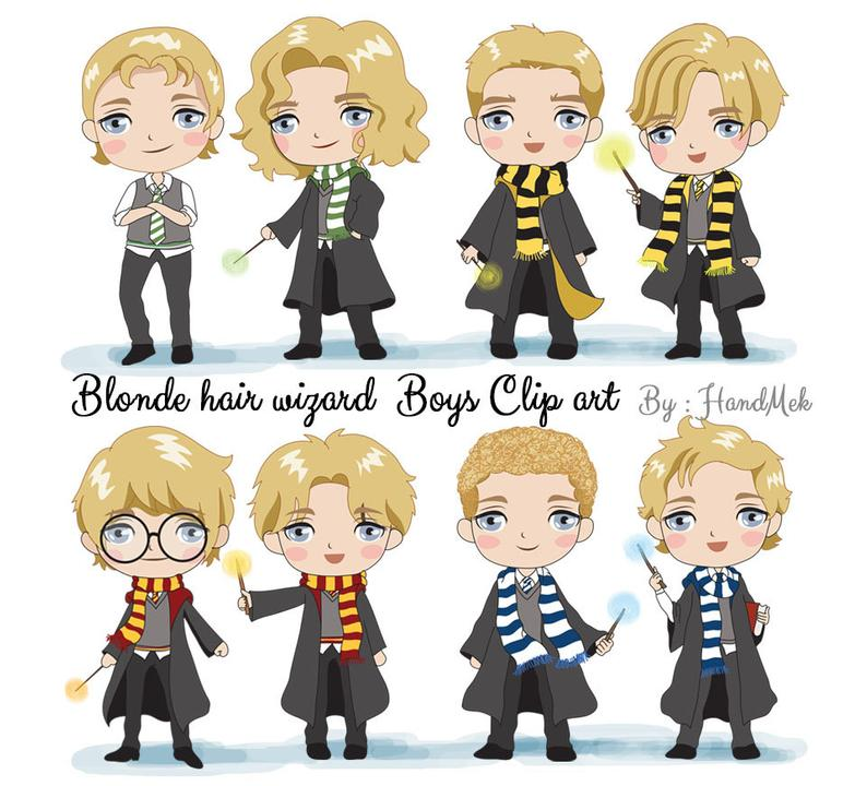 Blonde hair wizard boy Clip art instant download PNG file.