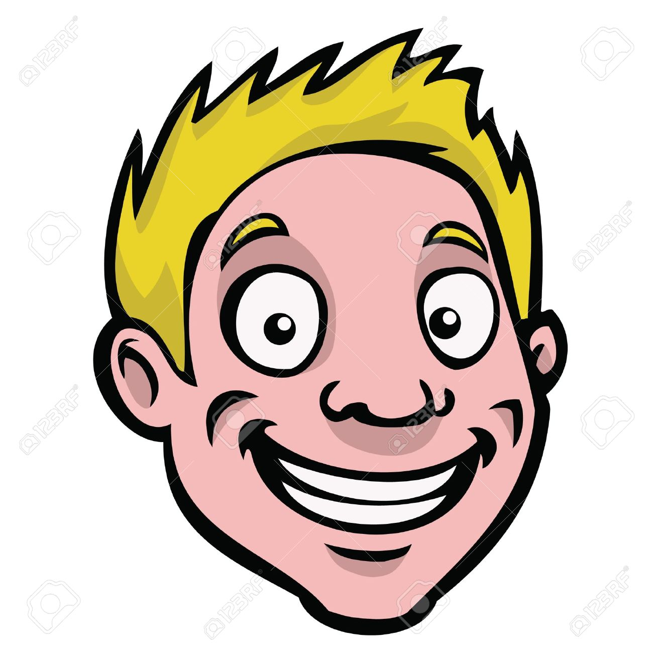 A happy, smiling cartoon guy with blonde hair..