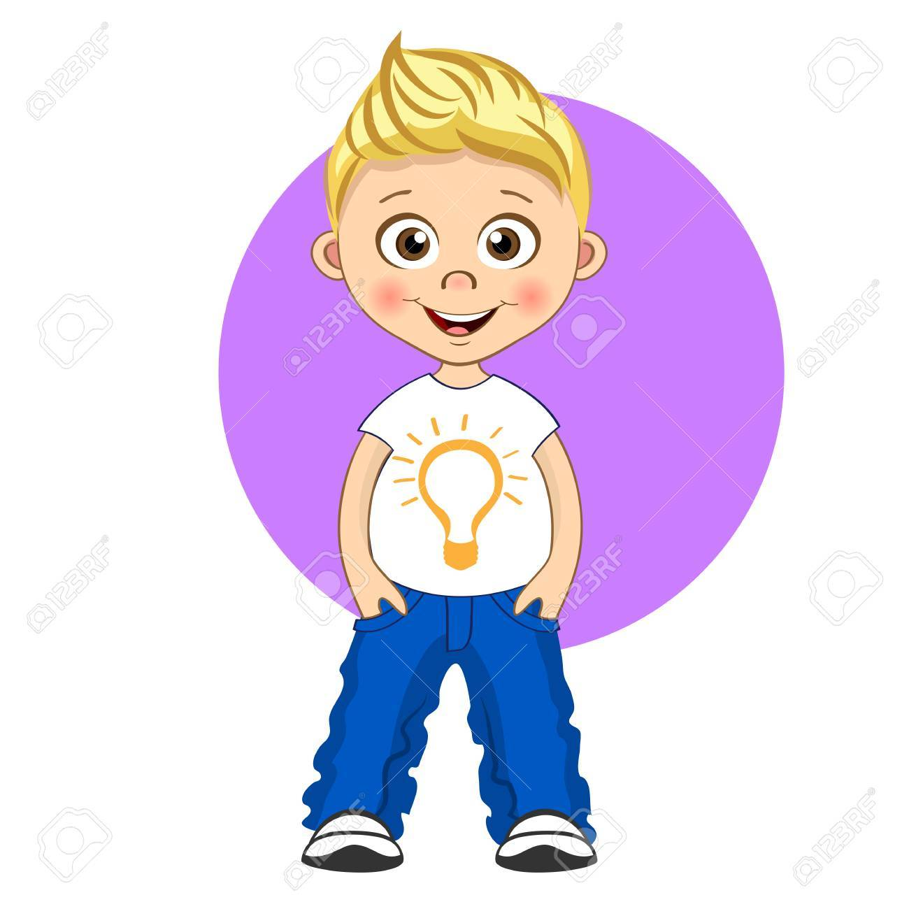 Cool boy with blonde hair in T.