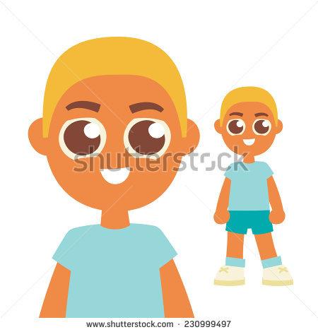 Blonde Hair Boy Brown Eyes Cartoon Stock Vector 230999497.