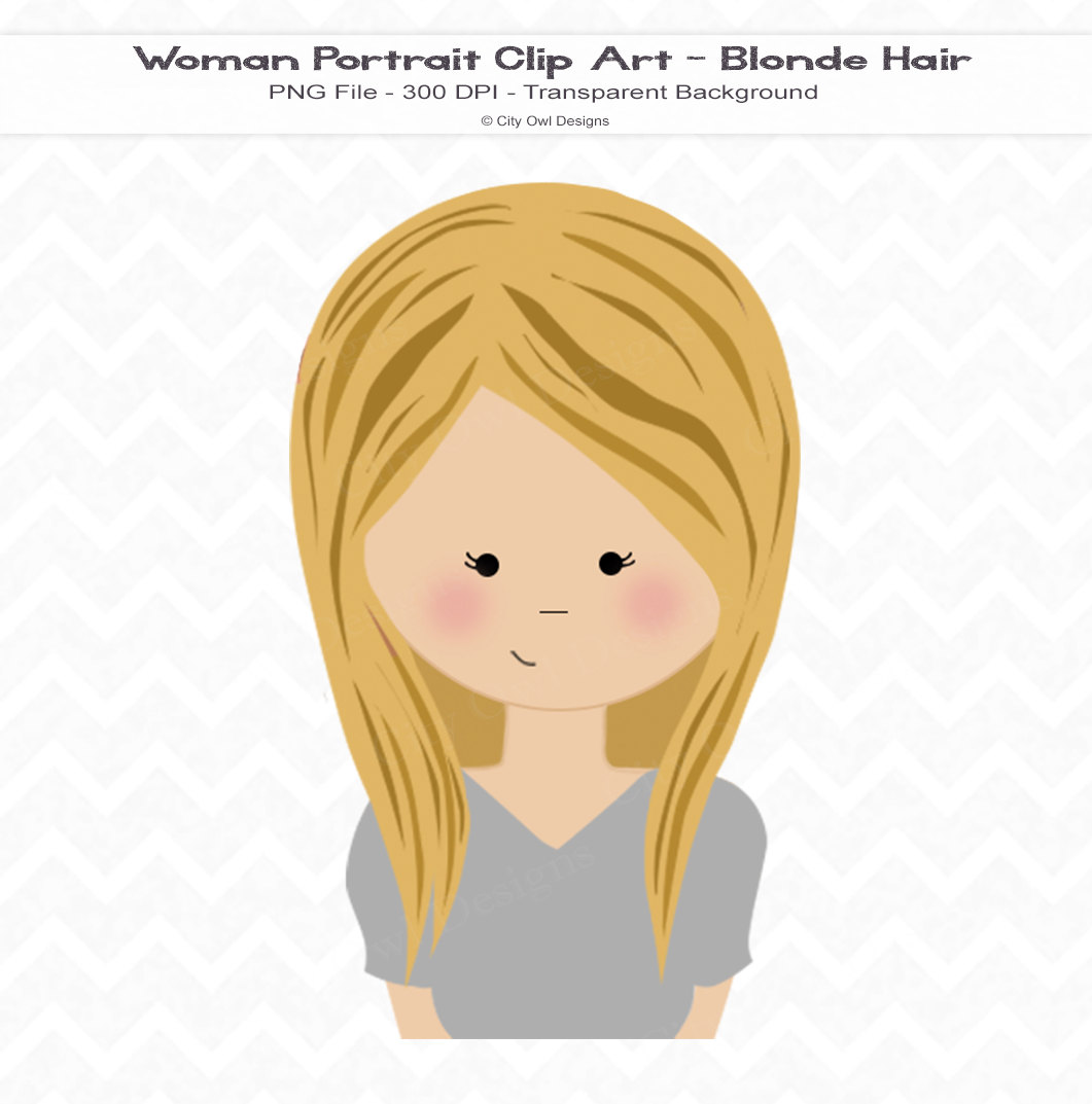 Blonde haired girl clipart.