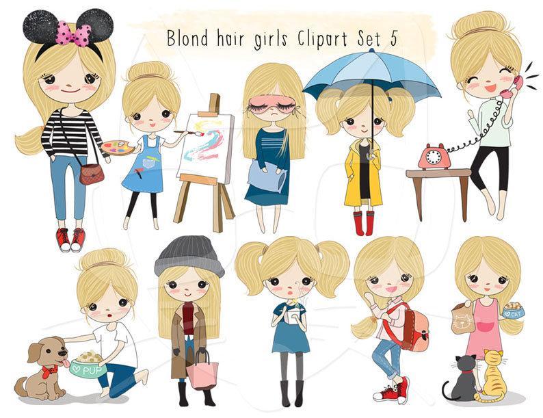 Blonde hair girl Clip art set 5 , instant download PNG file.