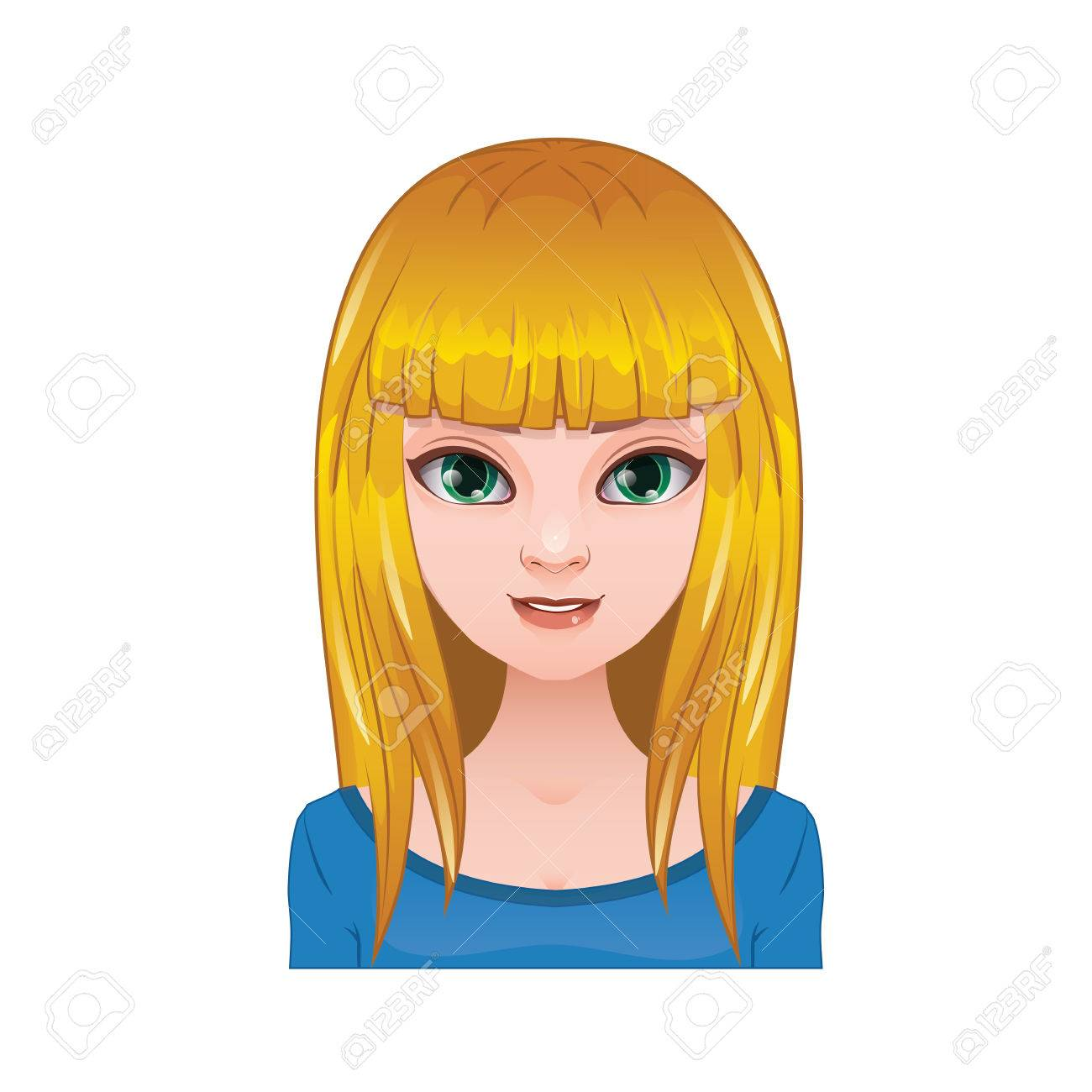 Blonde woman with long straight hair and bangs.