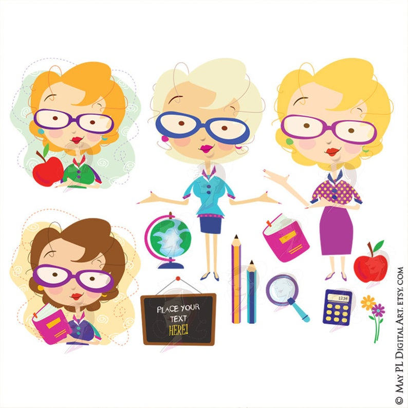 Blonde Teacher Clipart Classroom Cute Brunette Teacher Blackboard Ruler  Pencil Calculator Commercial Use School VECTOR Digital Images 10660.