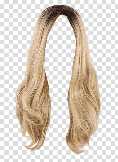Blonde wig illustration, Wig Blond Long transparent background PNG.