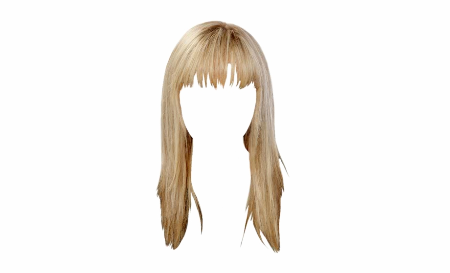 Casual Long Straight Hairstyle With Blunt Cut Bangs.