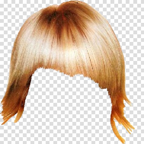 Hairstyle Wig Step cutting, Blonde hair styling salon transparent.