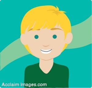Clip Art Icon of a Blonde Haired Boy With Braces.