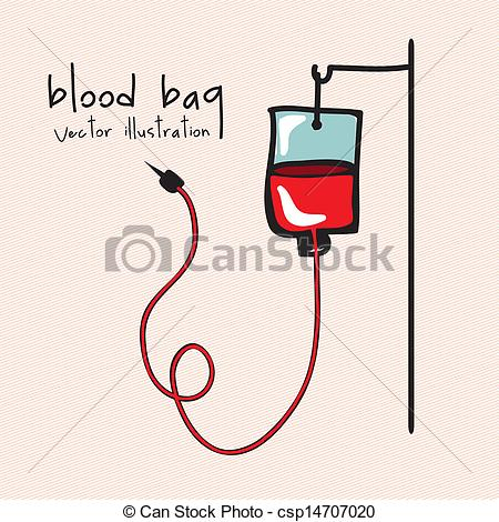 Vector Illustration of blood bag over pink background vector.