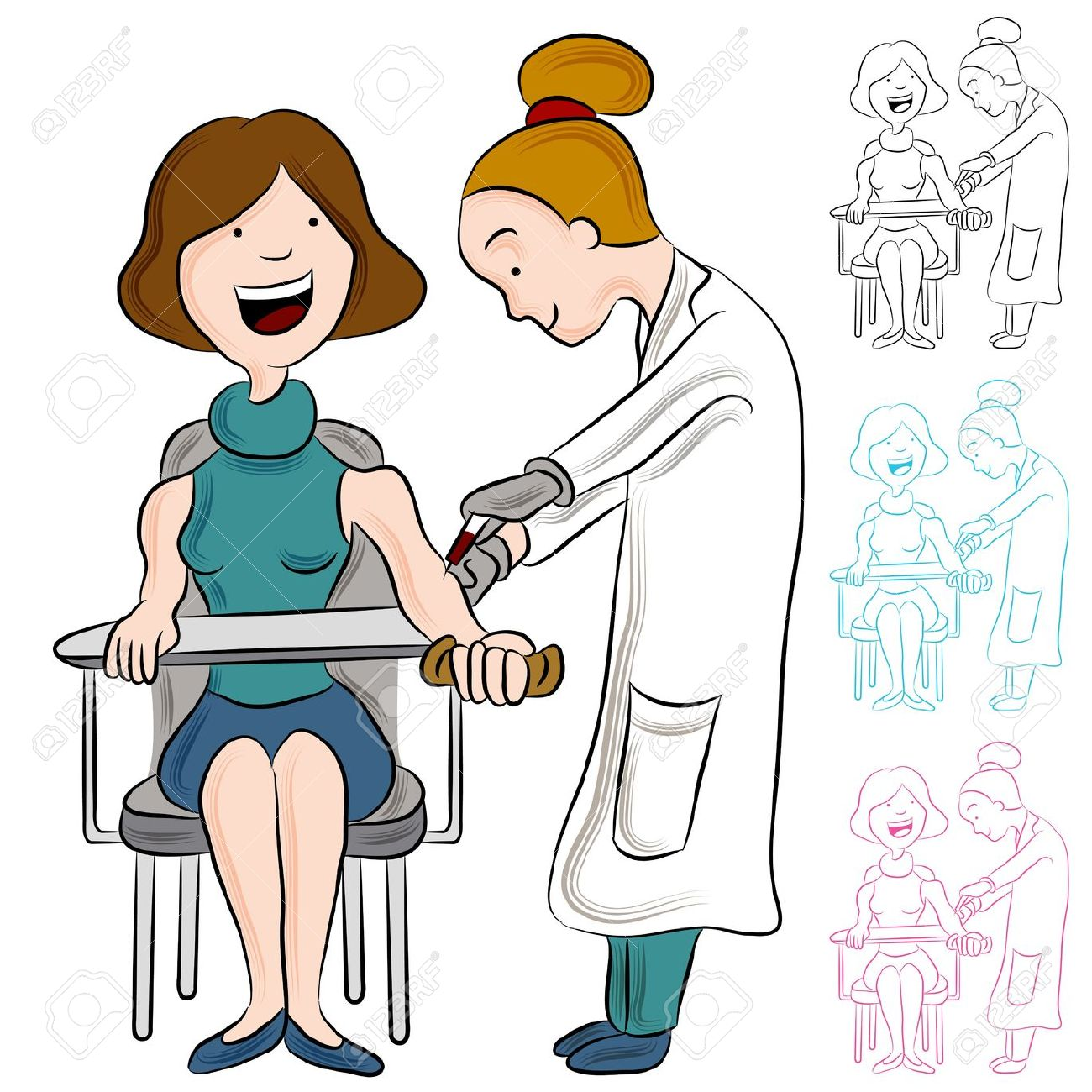 An Image Of A Woman Taking A Blood Test. Royalty Free Cliparts.