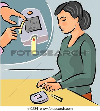 Drawings of Illustration of a woman testing her blood sugar level.