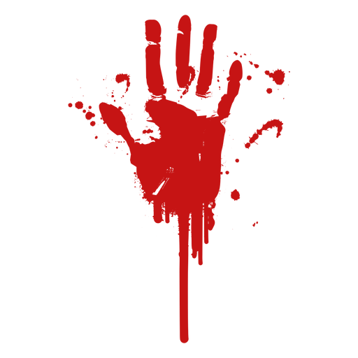 Blood palm finger print silhouette.