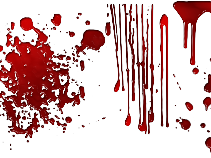 Dripping Blood Overlay with Drops Splashes PNG Transparent.