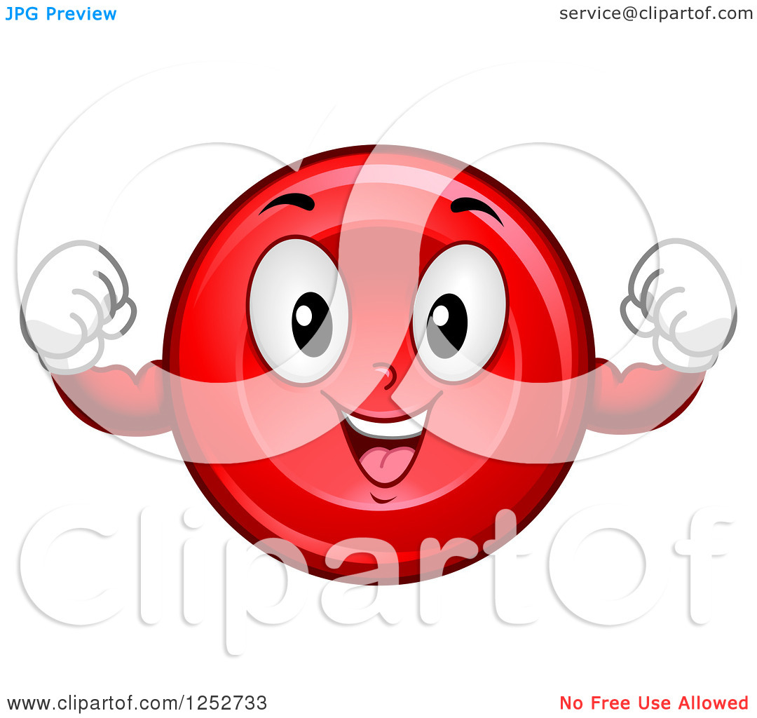 Clipart of a Strong Red Blood Cell Character Flexing.