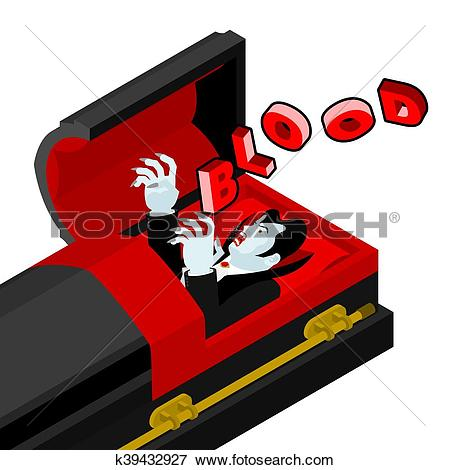 Clip Art of Dracula in his coffin cries blood. Thirst for bloody.