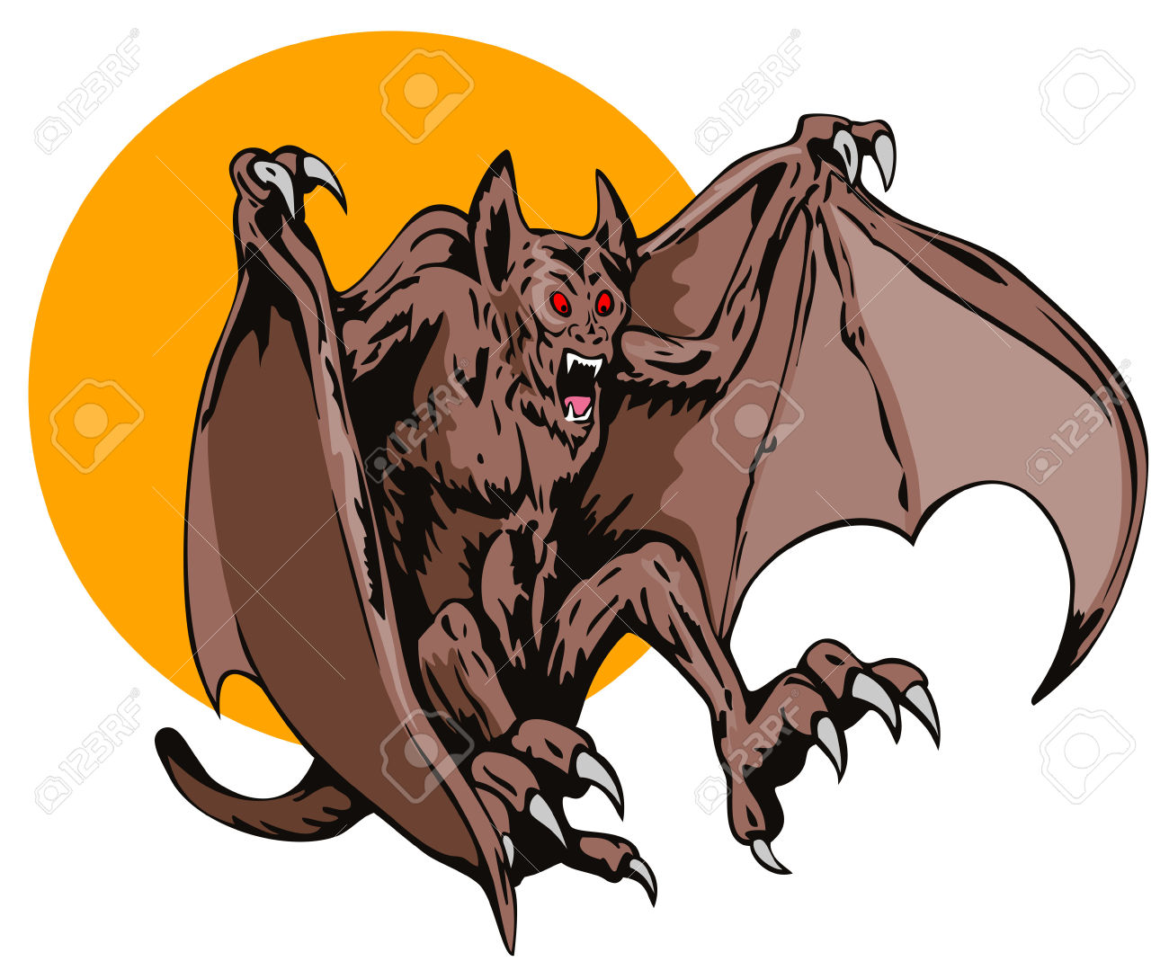Blood Thirsty Flying Creature Swooping Down Royalty Free Cliparts.