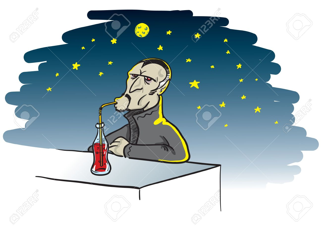 Cartoon Illustration Of A Thirsty Vampire Drinking A Bottle Of.