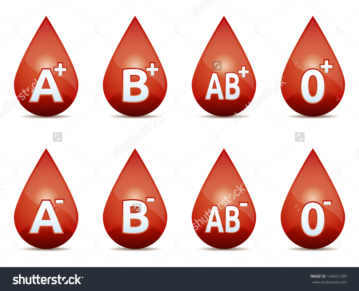 Drop Blood Blood Type On White Stock Vector 144051289.